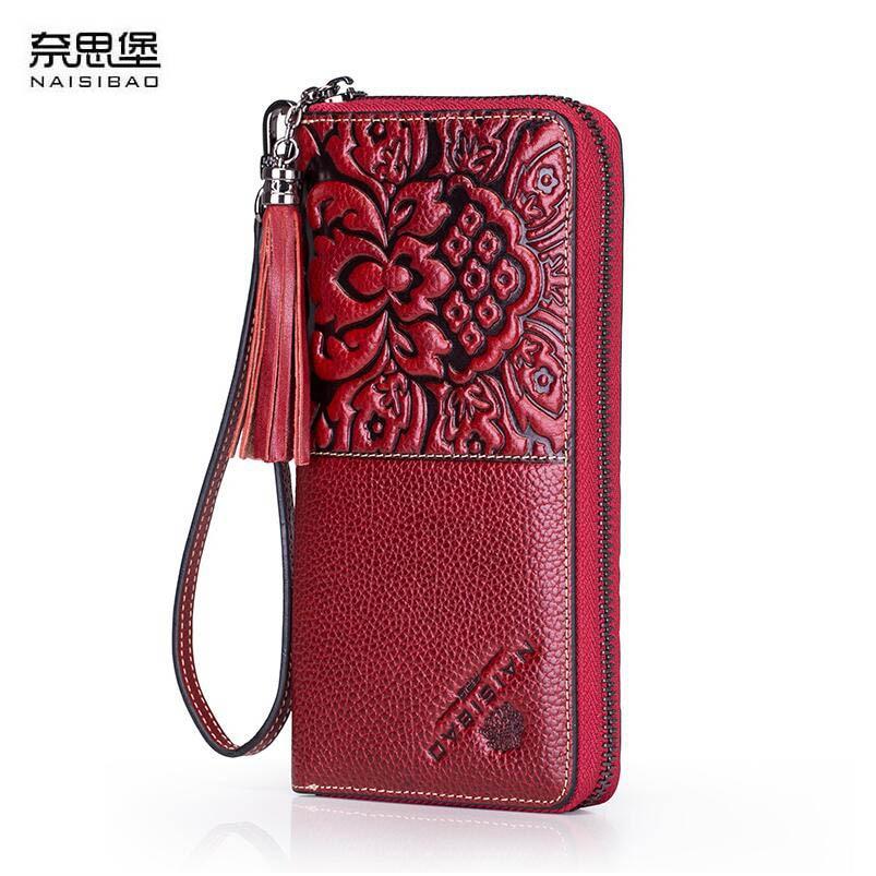 цена на NAISIBAO New women genuine leather bag designer brands wallets fashion zipper embossing long women wallets leather clutch bags