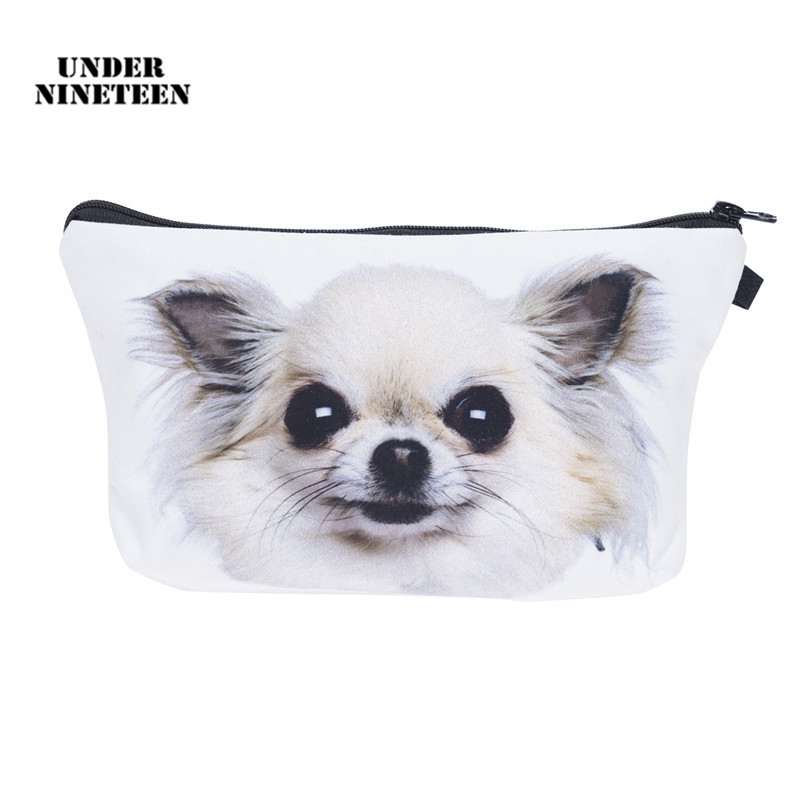 Under Nineteen 2017 Kawaii Dog Travel Cosmetic Bag 3D Printing Makeup Organizer Bag Neceser Toiletry Wash Bath Storage Pouch unicorn 3d printing fashion makeup bag maleta de maquiagem cosmetic bag necessaire bags organizer party neceser maquillaje