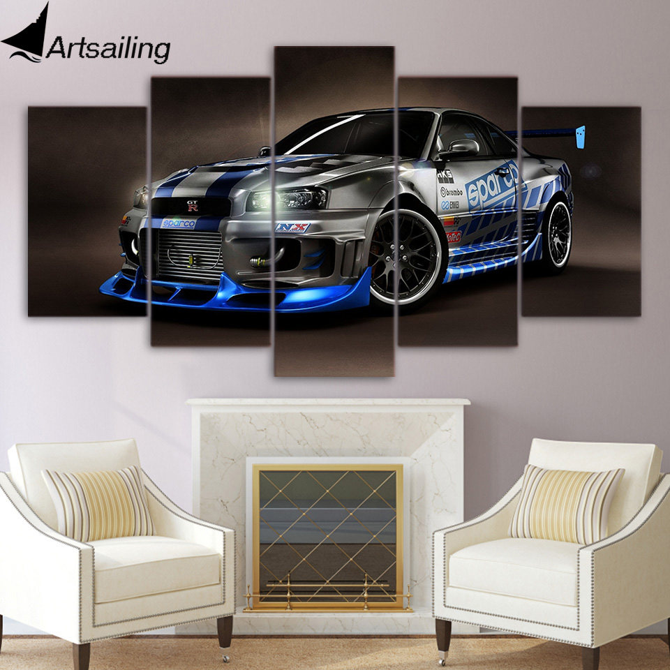 5 piece canvas painting luxury sports car HD posters and prints canvas painting for living room free shipping/XA-1794A