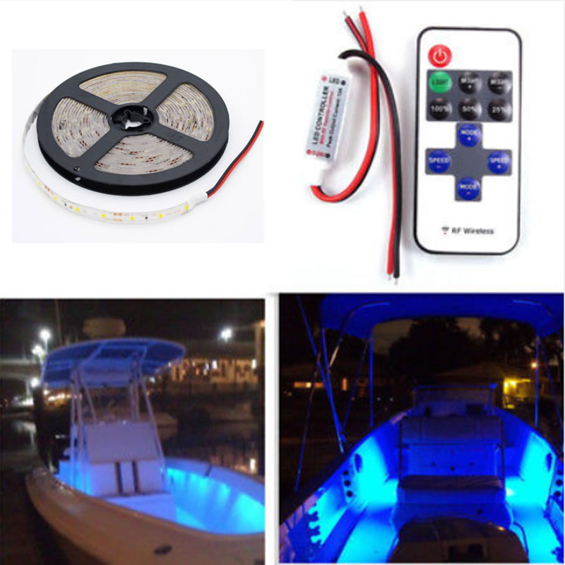 12V Wireless Waterproof 5M 300LEDs LED Strip Light For Boat / Truck / Car/ Suv / Rv Blue Red Green Amber White Warm White ip68 blue white boat marine ship rv waterproof 12v led courtesy light lamp for boats truck car
