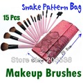 Free Shipping&Drop Shipping 15PCS Makeup Brush Set Makeup Brushes Cosmetic Brush Set Eyebrow Comb With Roll Up Snake Pattern Bag