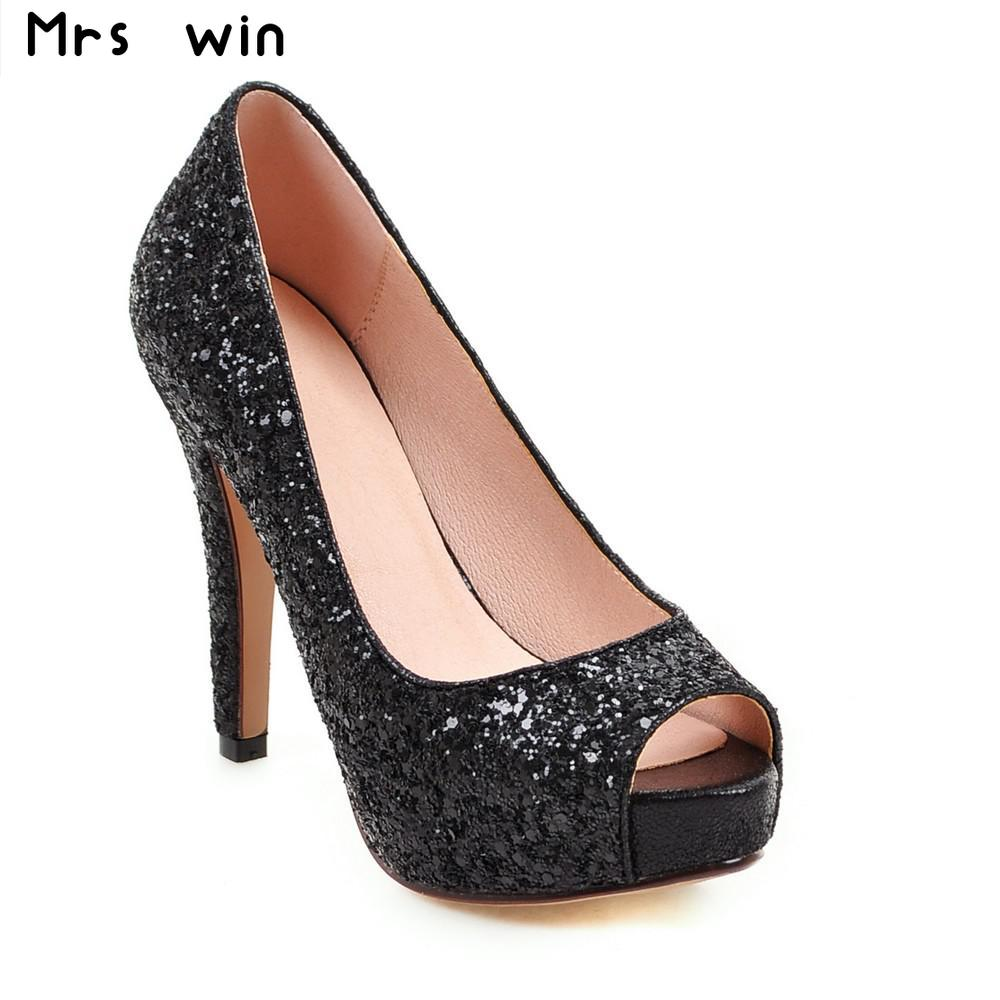 New fashion high heels platform women pumps summer sexy glitter party shine women shoes woman large size 34-43 phyanic bling glitter high heels 2017 silver wedding shoes woman summer platform women sandals sexy casual pumps phy4901