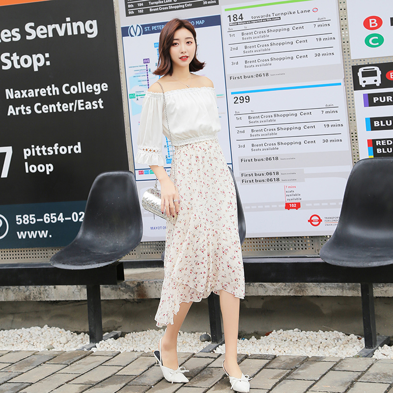 Floral Skirt Flower Kpop Chic Chiffon Ruffles Elegant Ladies Skirts Womens Summer New Harajuku High Waist Street Black Saia Midi