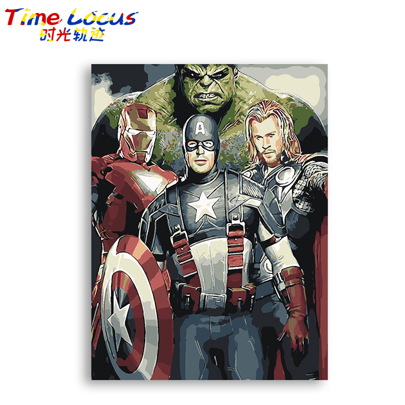 Avenger Poster Heroes Frame Diy Digital Painting By Number Picture Modern Wall Art Hand Painted Oil Painting For Home Time Locus