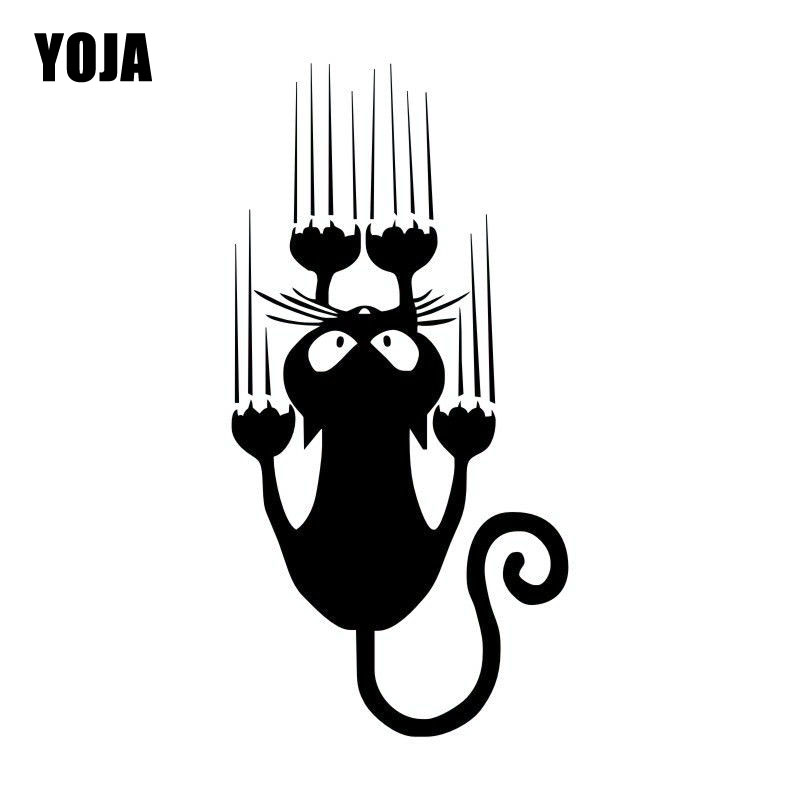 YOJA 7.5*15CM Waterproof Cat Pattern Car Sticker Funny Animal Vinyl Decal Car Window Bumper Stickers C4-0636 no airbags we die like real men bumper stickers funny vinyl decal for truck windows black silver white yellow red