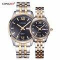 Amantes LONGBO Relógio de Ouro Relógio De Quartzo Das Mulheres Dos Homens de Luxo Relógio Marca de Topo Relógios de Pulso De Quartzo-Relógio Relogio masculino feminino