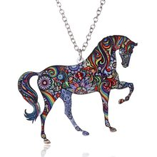 Handmade Jewelry Colorful Double Side Acrylic Printing Flower Animal Horse Pendant Necklace For Women Sweater Chain Family Gift(China)