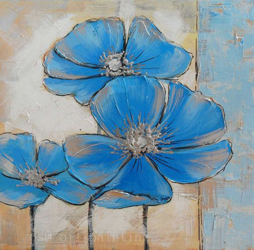 Top skill handmade modern abstract blue flowers palette knife oil top skill handmade modern abstract blue flowers palette knife oil painting on canvas decorative hand painted wall art pictures in painting calligraphy izmirmasajfo