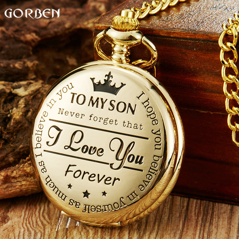 To My Son Best Gifts I Love You Son Girls Boys Present Luxury Gold Steampunk Pocket Watch FOB Chain For Necklace Pendant Watches цена