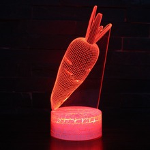 Lovely Rabbit Carrots LED 3D Visual Night Light 7 Colors Change USB Creative Desk Lamp Bedroom Lights Home Decoration Kid's Gift цена в Москве и Питере