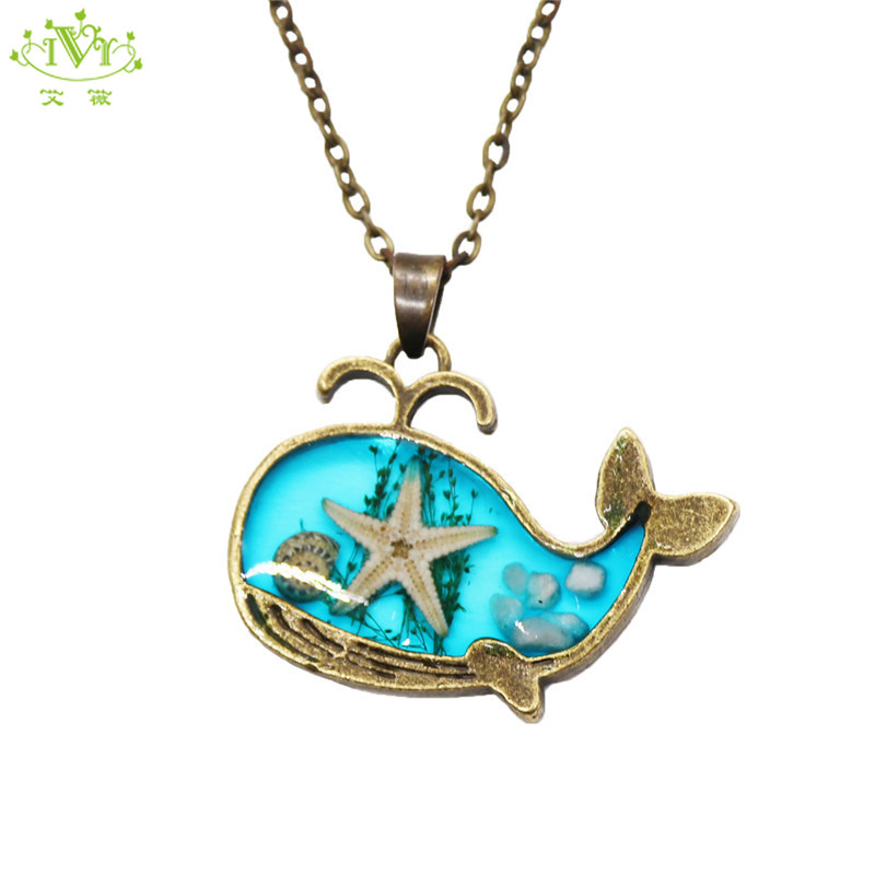 Women Multilayer Mermaid Tail Pendant Necklace Beach Spider Whale Shark Jewelry