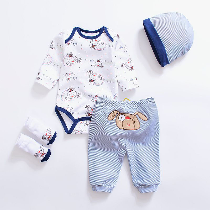 2020 Fashion Newborn Infants Baby Boys Girls Rompers +Long Pants +Hats + Sock Baby pajamas Animal 100% Cotton Baby Clothes Sets