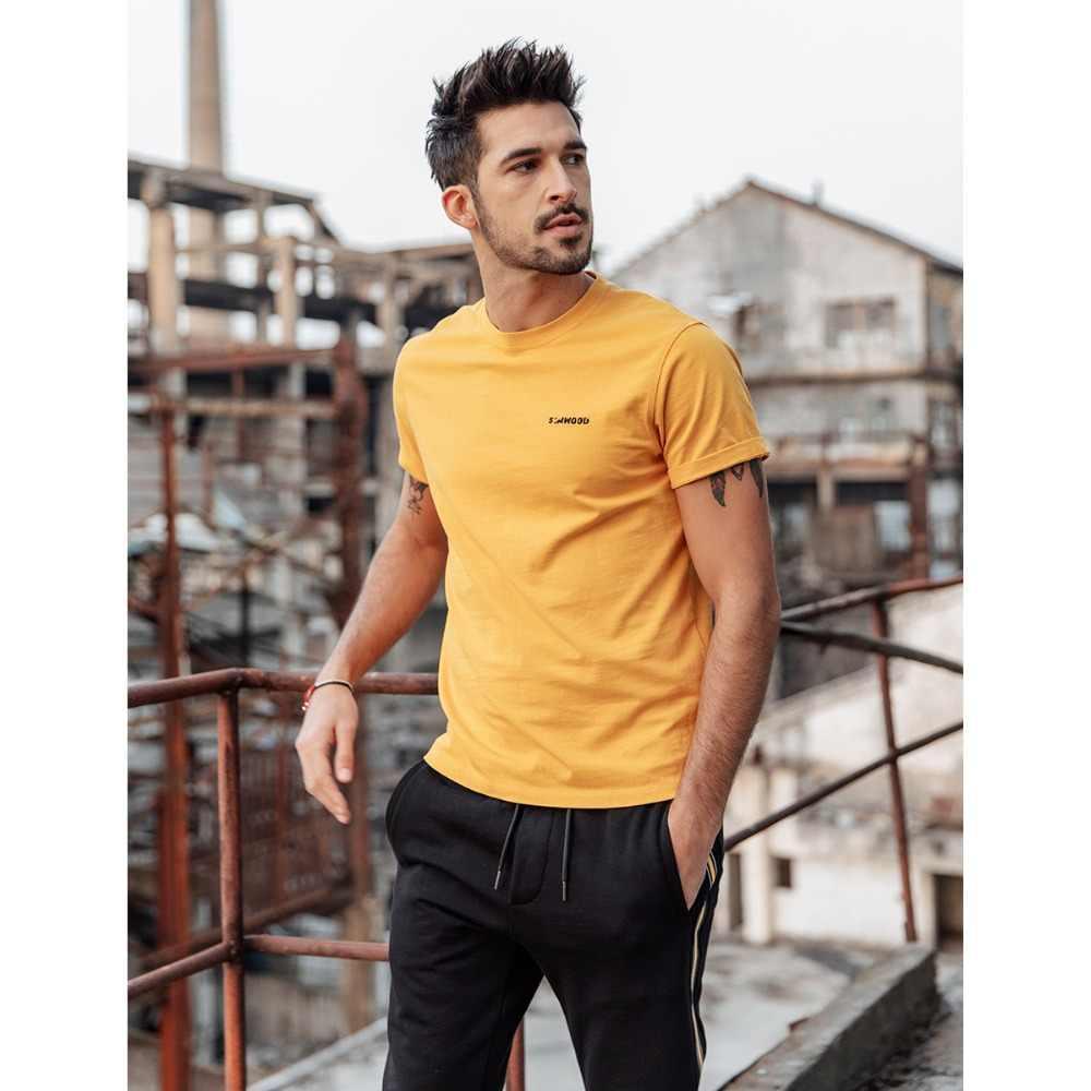 Simwood Baru 2019 Musim Panas T-shirt Pria 100% Katun Bordir Kasual T Shirt Dasar Tinggi Leher O Kualitas Plus Ukuran Pria Tee 190107
