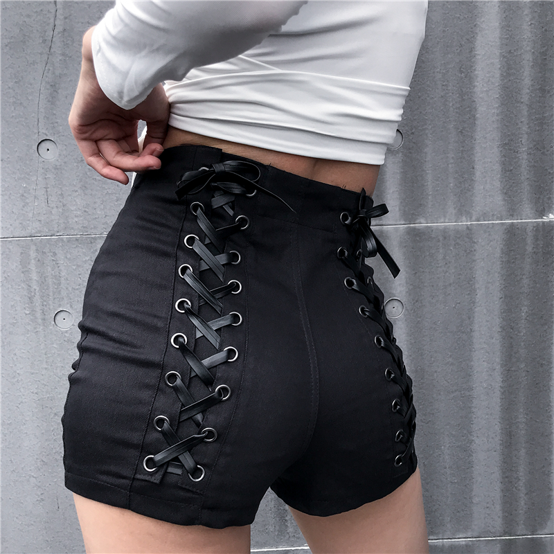 Sweetown Black Slim Gothic High Waist Shorts Women Hot Summer 2019 Streetwear Casual Punk Style Hip Criss-Cross Bandage Shorts 11