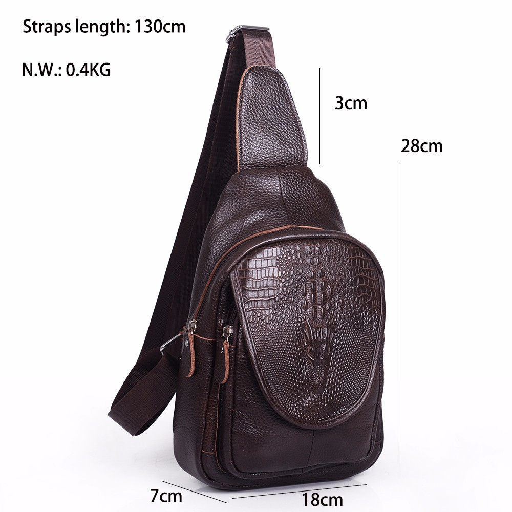 Casual Cow genuine leather Men bag Crossbody chest Bags Men Messenger Bags Single Shoulder Chest men's travel bags handbags (27)