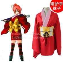 Gintama gin tama silver soul kagura kimono de halloween anime cosplay traje rojo uniforme corto lolita dress