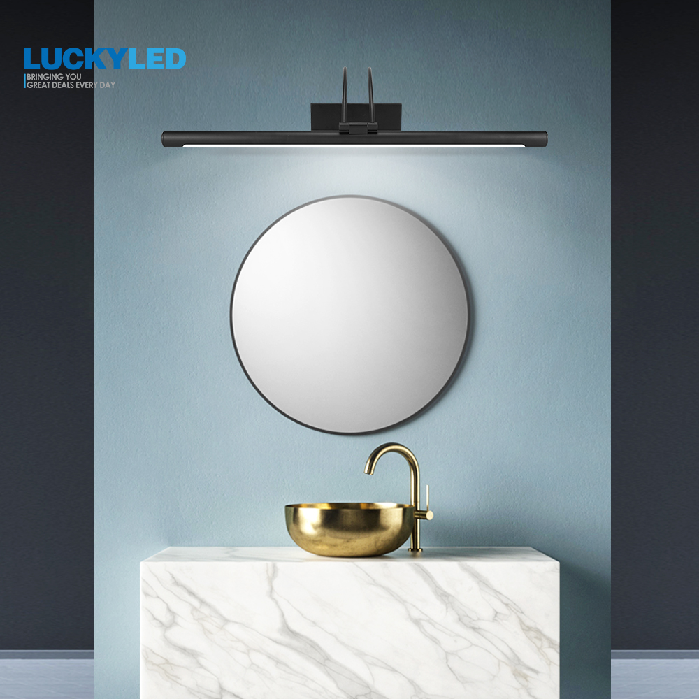 LUCKYLED Wall Lamps Indoor Modern Black AC90-260V Wall Mounted Industrial Led Bathroom Mirror Light 8W 12W Waterproof stainless modern acryl aluminum 4 heads led 12w mirror lamps for bathroom aisle 65cm waterproof ip65 anti fog indoor wall lamps 1184