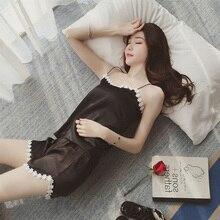 Korean style pajamas sets for women fashion lace satin pijama summer nightwear sexy lingerie pajamas pyjamas