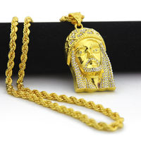 MCSAYS Men Jewelry Necklace Hip Hop CZ Alloy Jesus Face Necklace 6mm Rope Chain Gold White