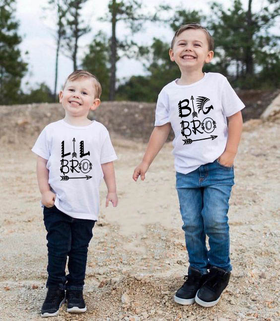 1pcsChildren Best Friend T-shirt Big Bro Lil Bro Matching Outfit Boy Tops Funny Kids Letter Printed T Shirts Brothers Outfits
