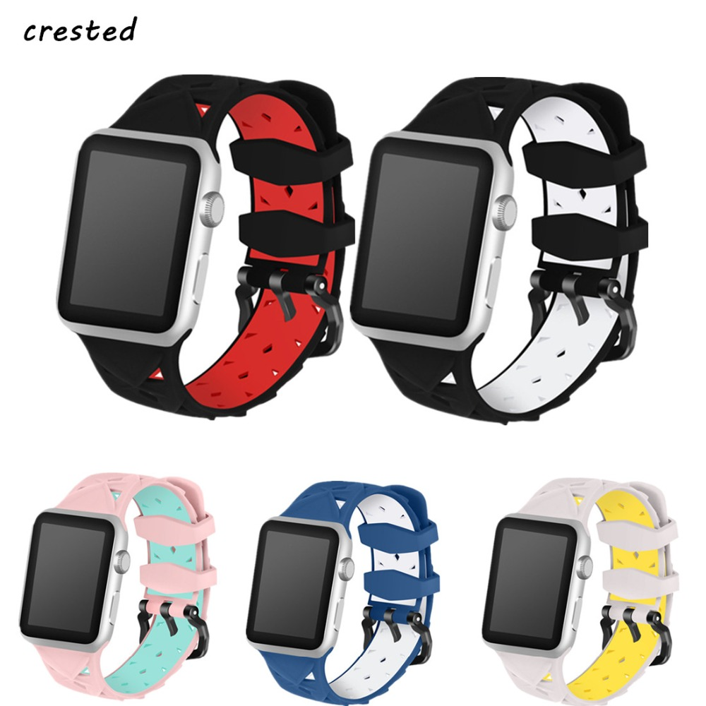 CRESTED silicone sport strap for apple watch band 42mm 38mm iwatch 3/2/1 Double color rubber replacement wrist band bracelet crested sport band for apple watch 3 42mm 38mm strap for iwatch nike 3 2 1 wrist band bracelet silicone strap