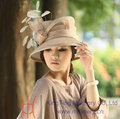 Free Shipping Hot Sale New Fashion Ladies' Sinamay Hat Sinamay Fabric Base Romantic Color Stones And Feathers Haircord Women Hat