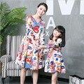 Hija de la madre vestidos delgado vestido de manga larga con cuello en v ropa a juego vestido de madre e hija familia mirada family clothing