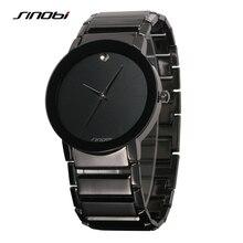 Sinobi Del Reloj Para Hombre de Cuarzo Analógico de Acero Inoxidable Resistente Al Agua Reloj Negro Hombres Casual Luxury Brand Reloj Hombre Reloj de Pulsera Para Hombre