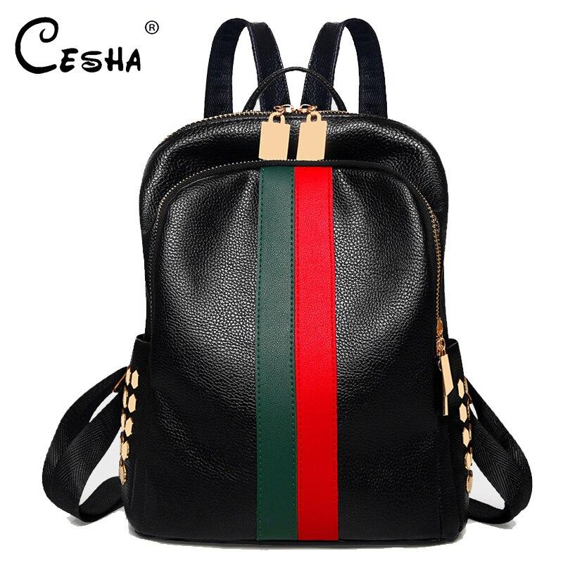 CESHA Casual Red Green Striped Pattern Women's Backpack High Quality Waterproof PU Leather Backpack School Backpack Satchel Sac