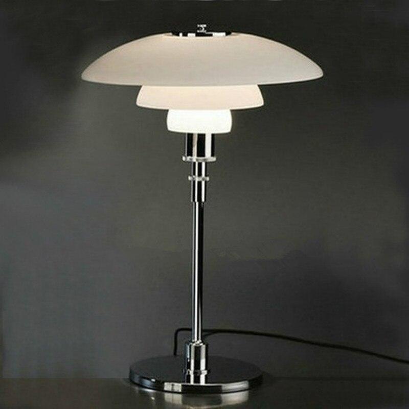 Краткое современная стеклянная ph настольная лампа Американский Личность прикроватные украшения офиса лампы E27