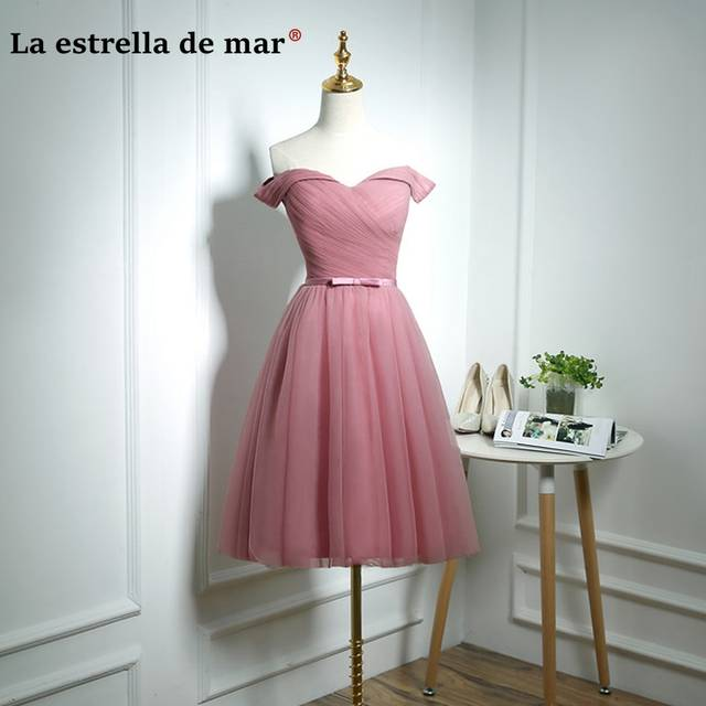 Online Shop robe demoiselle d honneur 2019 New Tulle Boat Neck Short Sleeve  a Line Knee Length blush pink bridesmaid dresses Cheap  ff9ddf703