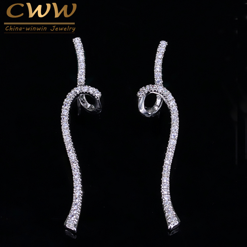 CWWZircons Geometric Riband Shape Micro Cubic Zirconia Stone Pave Fashion 925 Sterling Silver Ladies Jewelry Earrings CZ089 ...