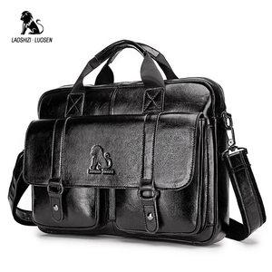 Image 5 - LAOSHIZI LUOSEN Genuine Leather Mens Briefcase Business Computer Bag Fashion Messenger Bags Man Shoulder Bag Male Handbags