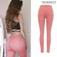 Touhonest Women Skinny Jeans High Waist Casual Stretch Jeans Pink Cotton Pencil Pants Elastic Pure color Pocket plus size XXXL