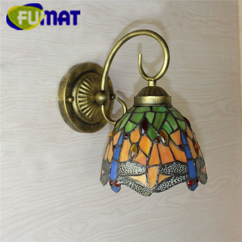 """Image 4 - FUMAT Tiffany Wall Lamp LED Sconces Stained Glass Luminaria Corridor Light Dragonfly Mirror Front Lamp E14 6"""" Passage Wall Light-in LED Indoor Wall Lamps from Lights & Lighting"""