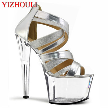 17cm Sparkling high-heeled shoes women fashion shoes vov with sexy Roman style Sandals