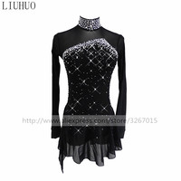 Figure Skating Dress Women's Girls' Ice Skating Dress Pure black collar long sleeve Beautiful sparkling rhinestones