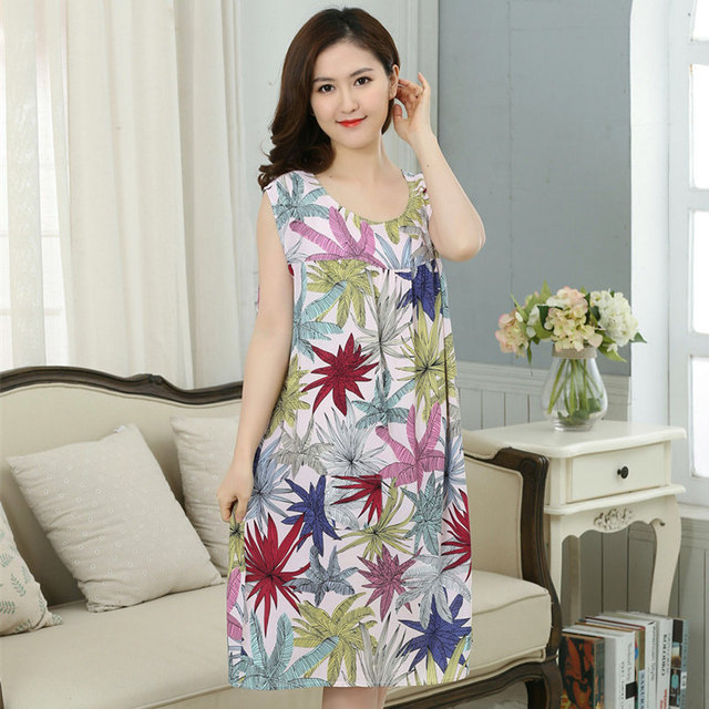 1c978e87d7 New Arrival Chinese Women 100% Cotton Nightdress Summer Sleeveless Sleepwear  Floral Home Dress Robe Gown Plus Size L