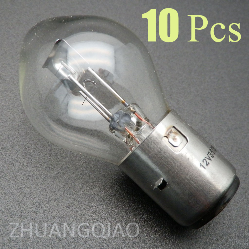 10 pcs Motorcycle lamp 12V 35 35W BA20D 50-150cc ATV Quad Chinese Scooter Motorbike Headlight Bulb  Ba20d Standard