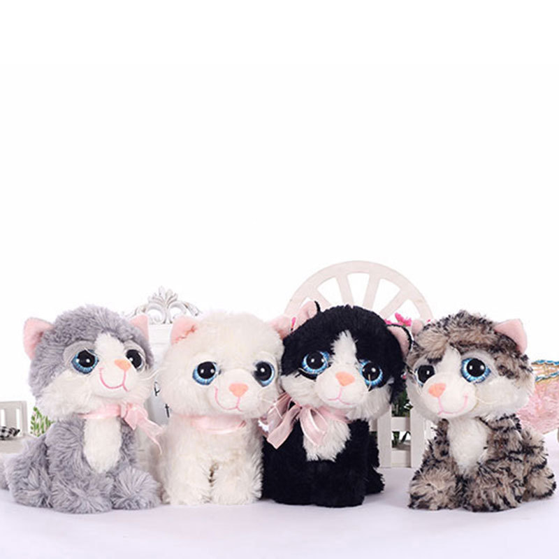 19CM Small Kawaii BIG EYES PLUSH CATS Stuffed Animals Grey White Black Brown Kitten Soft Toys for Children Kids Gifts 120106548