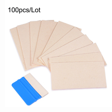 100Pcs 3M Wool Felt Squeegee Car Wrapping Vinyl Film Edge for Sign Vinyl / Vehicle Wrap & Tinting Application Tool 10x5CM