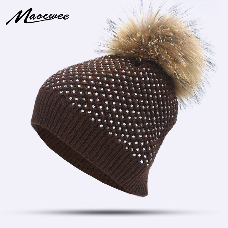 ff38cd7a8253 Women Winter Rhinestone Knitted Beanies Hats Caps Natural Raccoon Fur Pom  Pom Hat Diamond Skullies Warm