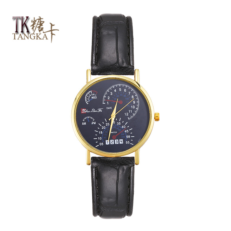 New The Leisure Fashion Lovers Watch Man-made Leather Strap Watch  Stainless Steel Quartz Watch British Style
