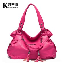 100% Genuine leather Women handbags 2019 New classic casual bag women tassel portable shoulder Messenger