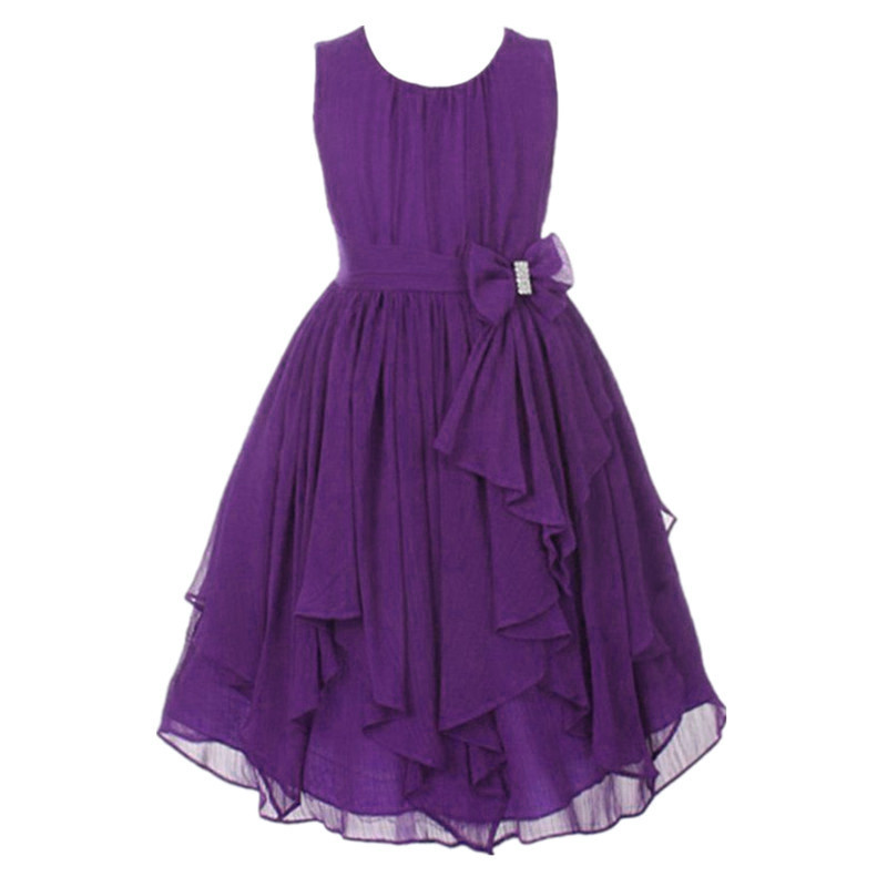 summer kids clothes chiffon ruffle sundress lavender flower girl dresses red yellow white purple dress for 3-12Y toddler girls 2017 summer girls dresses toddler baby girl ruffle floral sleeveless dress sundress briefs bottom 2pcs set flower girls dresses