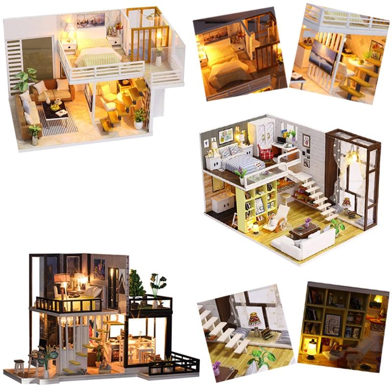купить DIY Doll House Minature Dollhouse Casa With Furniture Wooden House For Dolls Building Model Christmas Gift Toys For Children #E по цене 1458.55 рублей