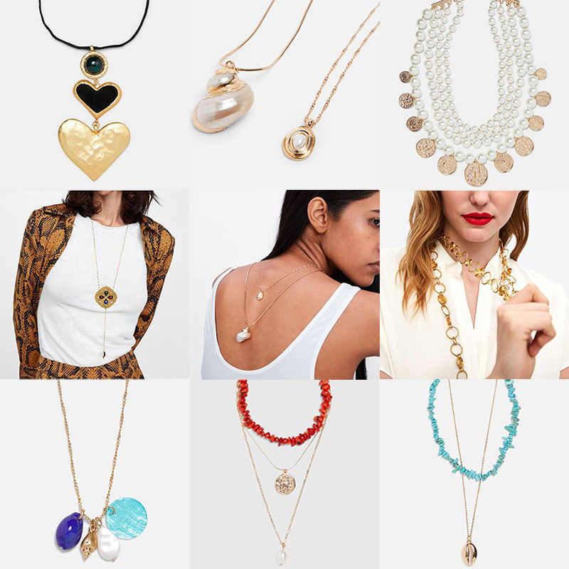 Miwens 2019 Za 18 Designs Metal Shell Stone Sequin Crystal Necklaces Women Trendy Chain Choker Handmade Jewelry Boho Hot A676
