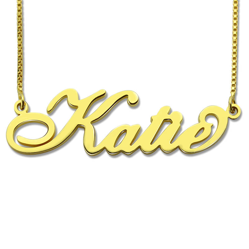 Personalized Carrie Style Name Necklace Gold Color Custom Made with Any Name Fashion Jewelry Gift beurself oversized capital initial necklace custom name large 26 letters alphabet punk style gold color alloy jewelry for women