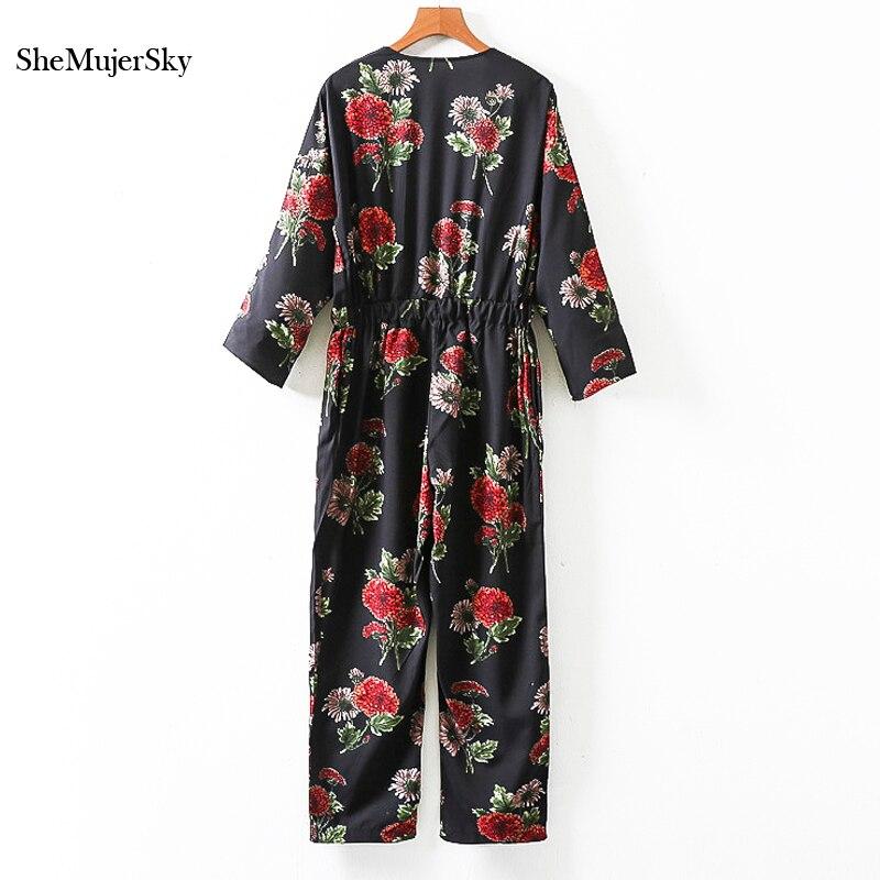 SheMujerSky Women Black Loose Jumpsuit Flower Printing Long Sleeve Jumpsuits bodies damas Fashion 2017