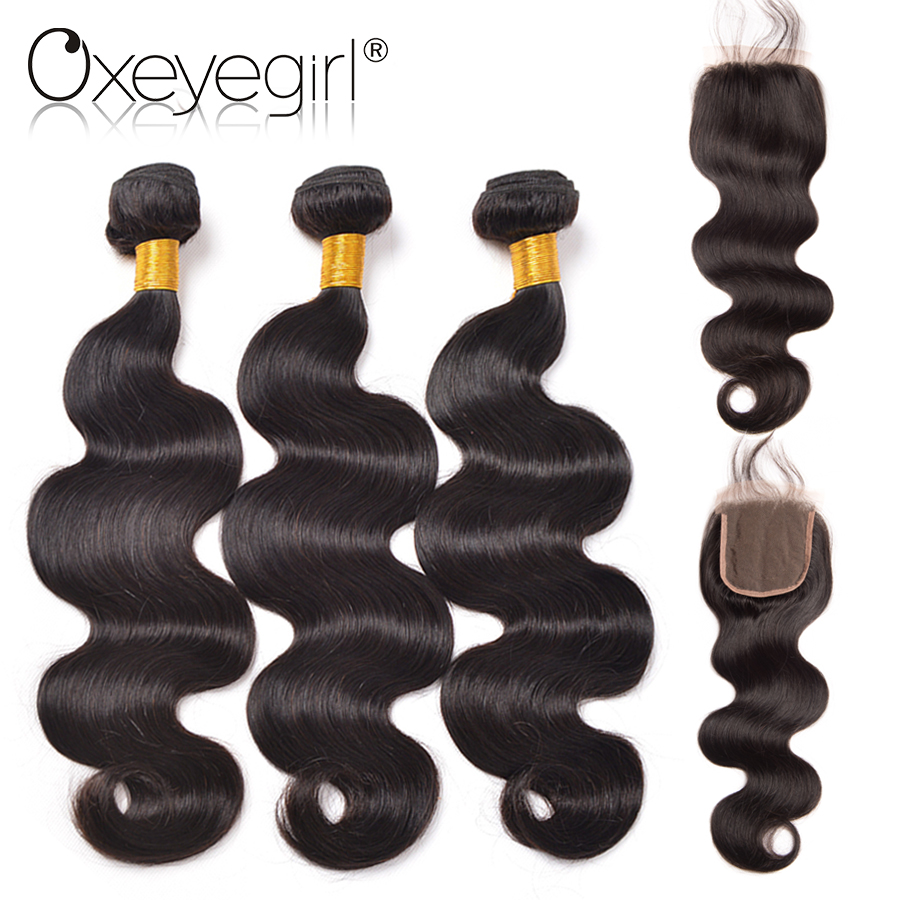 Oxeye girl Peruvian Body Wave Bundles With Closure Free Part 4Pcs Natural Color Non Remy Human Hair 3 Bundles 4x4 Lace Closure
